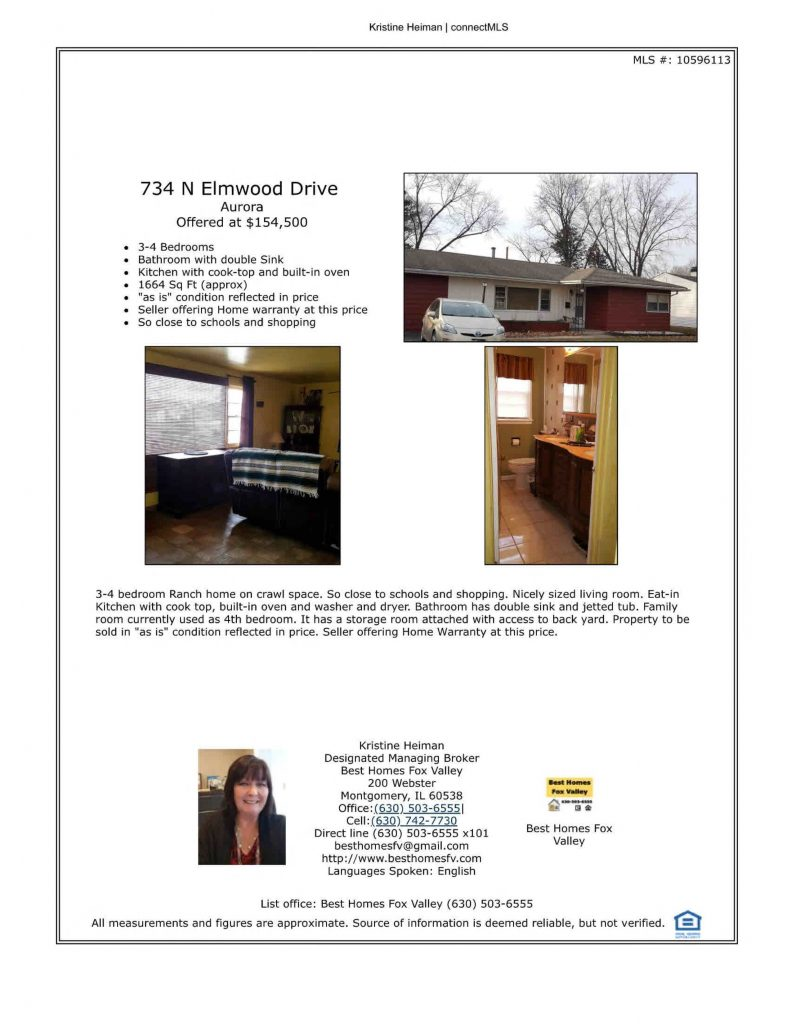 For sale 734 N Elmwood Dr Aurora IL 60506